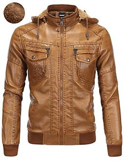 Tanming Men's Pu Leather Jacket with Removable Fur Hood XX-L