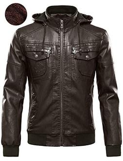 Tanming Men's Pu Leather Jacket with Removable Fur Hood