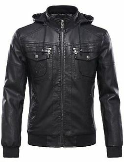 Tanming Men's Pu Leather Jacket with Removable Fur Hood Larg