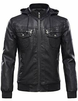 Tanming Men's PU Leather Jacket With Removable Fur Hood Medi