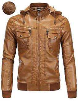 Tanming Men's Pu Leather Jacket with Removable Fur Hood X-La