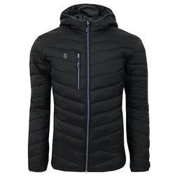 IZOD Men's Quilted Full Zip Puffer Jacket Black M