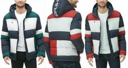 Tommy Hilfiger Men's Quilted Puffer Colorblocked Hooded Heav