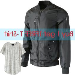 Men's Qulited Flight Bomber Jacket Work Outdoor Sports Coat