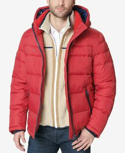 Tommy Hilfiger Men's Red Quilted Puffer Hooded Jacket $225