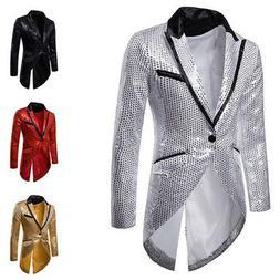 Men's Sequin Decor Dot Button Tuxedo Evening Lapel Formal Su