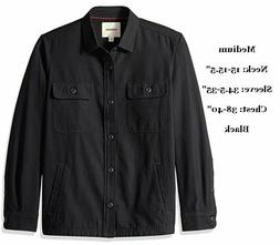 men s shirt jacket military twill black