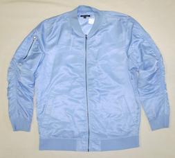 ELWOOD Men's Size Xl Powder Blue Nylon Bomber Jacket NWT Lig