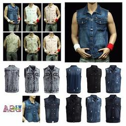 Men's Sleeveless Vest Fashion Ripped Denim Slim Jacket Jean