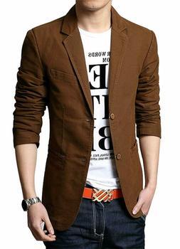 chouyatou Men's Slim 2-Button Single Breasted Cotton Lightwe