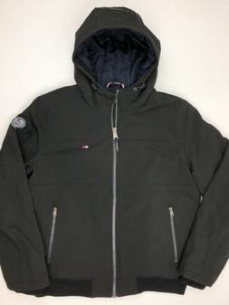 Tommy Hilfiger Men's Softshell Bomber Jacket Hooded Black Me