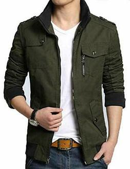 XueYin Men's Solid Cotton Casual Wear Stand Collar, Green, S