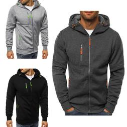 Men's Solid Full Zip Up Hoodie Sports Hooded Zipper Sweatshi