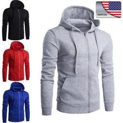 Men's Solid Zip Up Hoodie Classic Winter Hooded Sweatshirt J