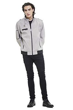 Members Only Men's Sport Iconic Racer Jacket, Heather Grey,