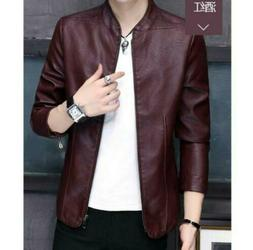 Men's Stand Collar Faux Leather Jacket Outdoor Motorcycle Bi