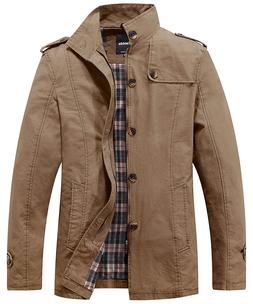 Wantdo Men's Stand Up Collar Cotton Classic Jacket - US LARG