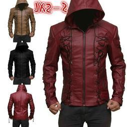 Men's Steampunk Hooded Leather Jacket Motorcycle Hoodie Jack