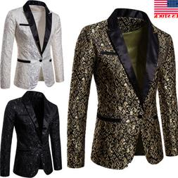 Men's Suit Coat Casual Slim Formal One Button Blazer Jacket