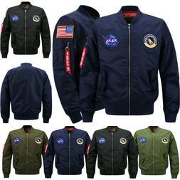 Men's Thick Jacket US NASA Warm Winter MA1 Flight Bomber Coa