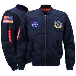 Men's Thick Jacket US NASA  Warm Winter MA1 Flight Bomber Co