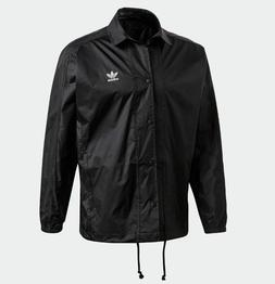 Adidas Men's Trefoil Coach Jacket Size XL Black White Button