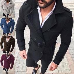 Men's Trench Coat Double Breasted Overcoat Long Jacket Slim