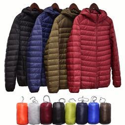 Men's Ultralight Hooded Duck Down Jacket Puffer Outerwear Wi