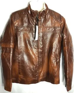 Chouyatou Vintage Stand Collar Faux Leather Jacket Brown Men