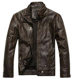 Chouyatou Men's Vintage Stand Collar Pu Leather Jacket - Men