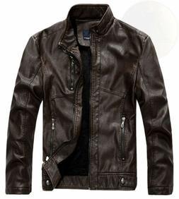 Chouyatou Men's Vintage Stand Collar Pu Leather Jacket
