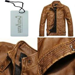 Chouyatou Men's Vintage Stand Collar Pu Leather Jacket LARGE