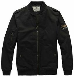 WenVen Men's Warm Polar Fleece Lined Vintage Flight Jacket,