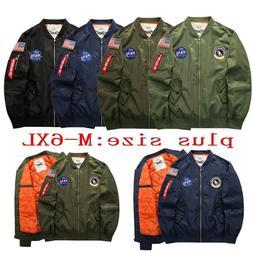 Men's Warm Winter US NASA MA1 Flight Bomber Coat Thick Jacke