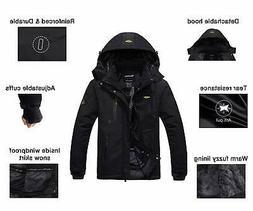 Wantdo Men's Waterproof Mountain Jacket Fleece Windproof, Bl