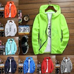 Men's Waterproof Wind Breaker Jacket Hoodie Light Sports Out