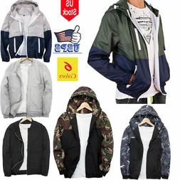 Men's Waterproof Windbreaker Zipper Jacket Hoodie Outwear Gy