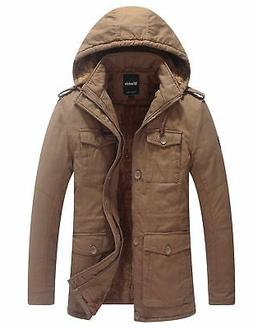 """Wantdo Men's Winter Casual Jacket With Removable Hood Khaki"