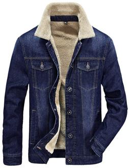 Tanming Men's Winter Casual Lined with Cashmere Warm Denim J