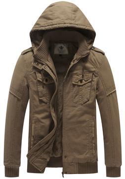 WenVen Men's Winter Fleece Jacket with Hood Thicken Coat War