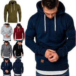 Men's Winter Hoodies Slim Fit Hooded Sweatshirt Outwear Swea
