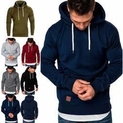 Men's Winter Hoodies Slim Fit Hooded Sweatshirt Outwear Swea