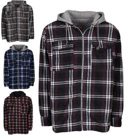 Men's Winter Jacket Hoodie Sherpa Fleece Lined Flannel Jacke