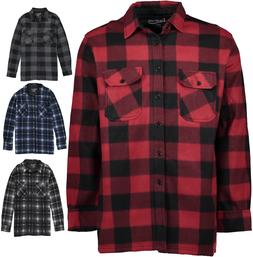 Men's Winter Jacket Sherpa Fleece Lined Flannel Shirt Plaid