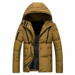 Men's Winter Padded Down Coat Slim Thicken Casual Hooded Out