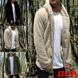 Men's Winter Thick Hoodies Tops Fluffy Fleece Fur Jacket Hoo