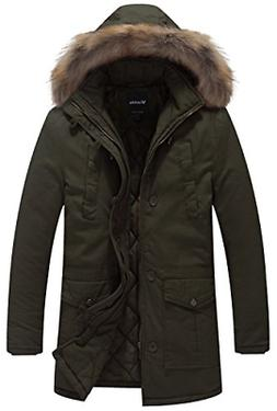 Wantdo Men's Winter Thicken Cotton Jacket with Fur Hood US X
