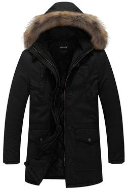 Wantdo Men's Winter Thicken Cotton Jacket with Fur Hood - BL