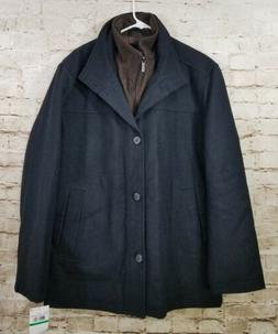 London Fog Men's Wool Blend Car Coat with Bib Navy Large NWT