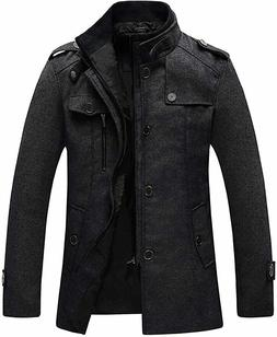 Wantdo Men's Wool Blend Jacket Stand Collar Windproof Pea Co